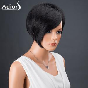 Adiors Hair Bobs Short Side Bang Asymmetric Srtraight Synthetic Wig - BLACK