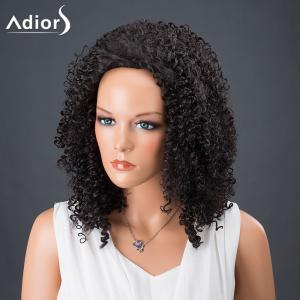 Adiors Hair Medium Afro Curly Faddish Synthetic Wig - BLACK