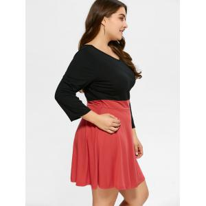 Plus Size Color Block Mini Dress -