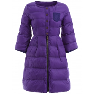 High Waist Single Breasted Long Skirted Quilted Coat - Purple - L