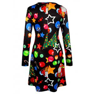Knee Length Christmas Tree Star Dress - BLACK 2XL