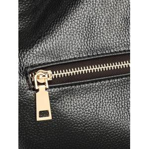 Double Buckle Textured Leather Metal Tote Bag -