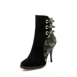 Embossing Zipper Metal Ankle Boots -