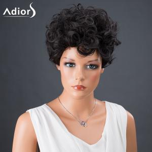Adiors Hair Synthetic Short Fluffy Curly Wig - BLACK