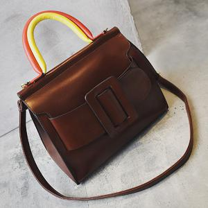 Large Buckle Color Block Handle Tote -