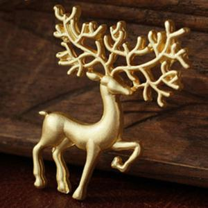 Christmas Sika Deer Brooch - Golden