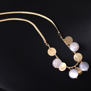 Beads Metal Wafer Pendant Necklace - GOLDEN