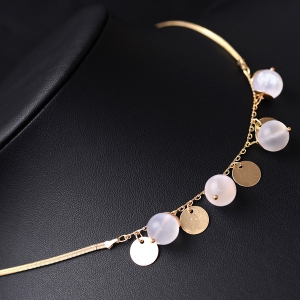 Beads Metal Wafer Pendant Necklace -