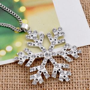 Christmas Snowflake Pendant Sweater Necklace Chain - SILVER
