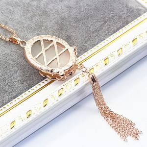 Rhinestone Faux Opal Tassel Sweater Chain - GOLDEN