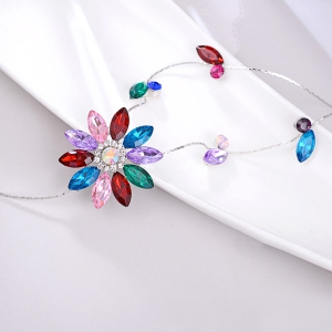 Floral Faux Crystal Sweater Chain - RED