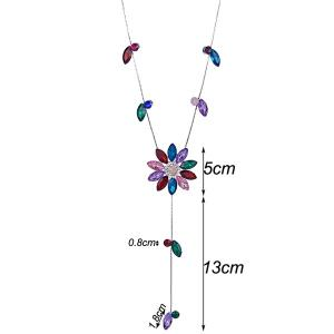 Floral Faux Crystal Sweater Chain -