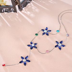 Faux Crystal Five Petaled Flower Sweater Chain - BLUE