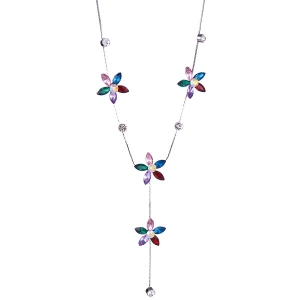 Faux Crystal Five Petaled Flower Sweater Chain