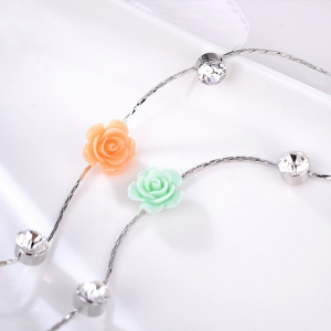 Floral Rhinstone Sweater Chain - ROSE RED