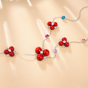 Faux Gemstone strass Pull Chain -