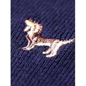 Crew Neck Animal Embroidery Sweater - PURPLISH BLUE 2XL