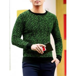 Slim Fit Crew Neck Space Dyed Sweater - GREEN 2XL