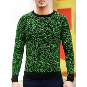 Slim Fit Crew Neck Space Dyed Sweater - Green - M