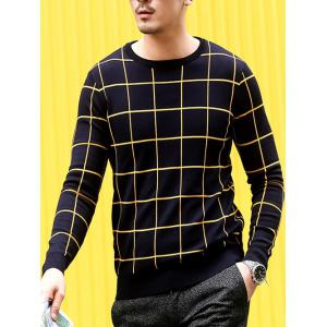 Slim Fit Crew Neck Grid Sweater - PURPLISH BLUE 2XL
