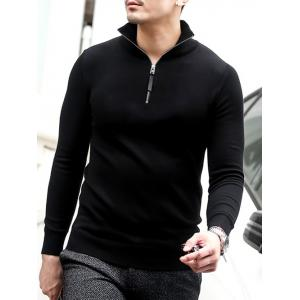 Slim Fit Half Zip Polo Sweater - BLACK 2XL