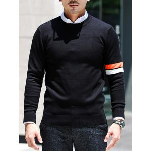 Crew Neck Varsity Striped Pullover Knitwear