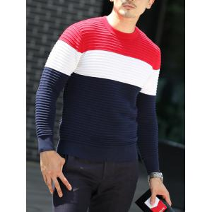 Textured Crew Neck Striped Pullover Sweater -