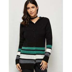 Button Up Hooded Cardigan - Black - One Size(fit Size Xs To M)