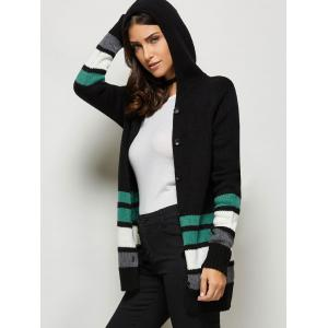 Button Up Hooded Cardigan - BLACK ONE SIZE(FIT SIZE XS TO M)