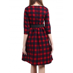 Vintage Plaid genou Pin Up Dress - Rouge 2XL