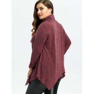 Loose Turtleneck Asymmetric Plus Size Sweater - WINE RED 5XL