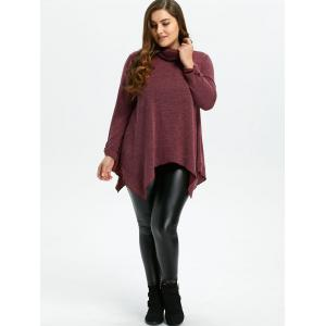 Turtleneck Asymmetric Plus Size Sweater - Rouge vineux  XL