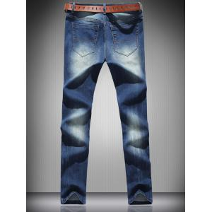 Mid Rise Zip Fly Ripped Denim Jeans -