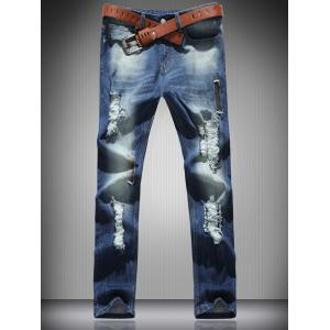 Mid Rise Zip Fly Ripped Denim Jeans - Blue - S