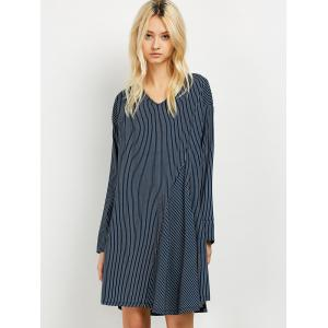 Patchwork Striped Long Sleeve Tunic Dress -
