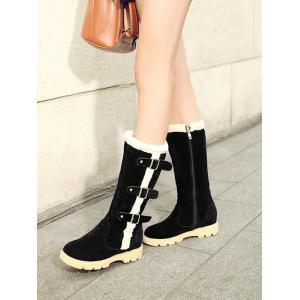 Faux Shearling Panel Buckles Mid Calf Boots -