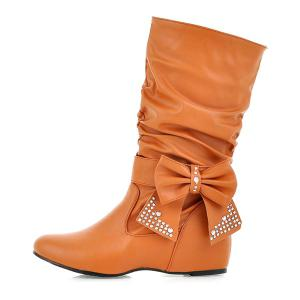 PU Leather Bowknot Ruched Mid Calf Boots -