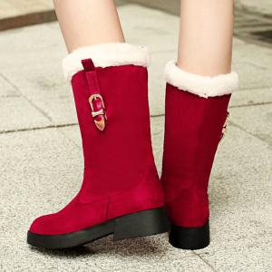 Bottes Panel Peluche Buckle Strap mi-mollet - Rouge 38