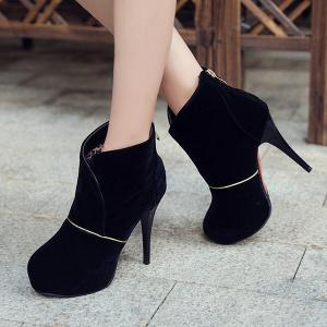 Stiletto Heel Back Zip Up Ankle Boots -