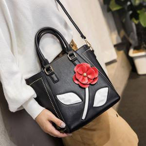 Faux Leather Flower Tote Bag - BLACK