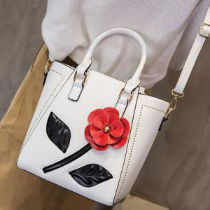 Faux Leather Flower Tote Bag - White