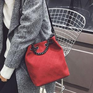 Checked Suede Shoulder Bag - Red - 40