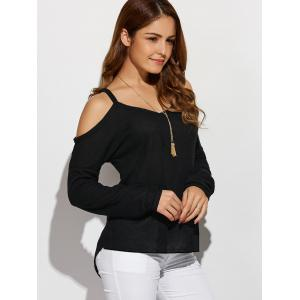 V Neck Cold Shoulder Asymmetric Pullover Sweater -