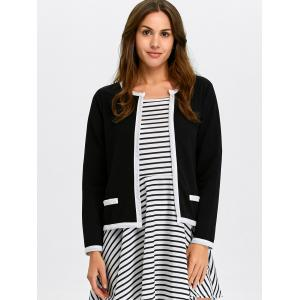 Contrast Trim Open Front Jacket -
