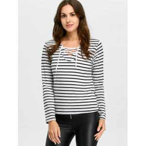Long Sleeve Lace-Up Striped T-Shirt -