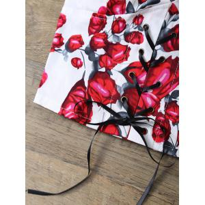 Rose Print Lace Up Padded Bralet Top -