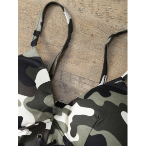 Camouflage Lace Up Padded Bralet Top -