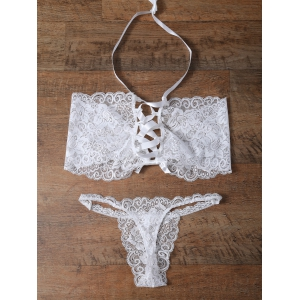 Unlined Bowknot Lace Wireless Bra and V String Panty - White - S
