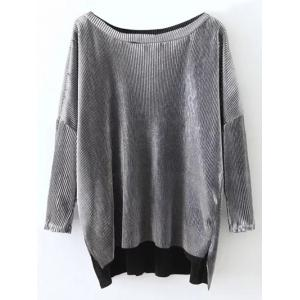 Slash Neck Pleated High Low T-Shirt
