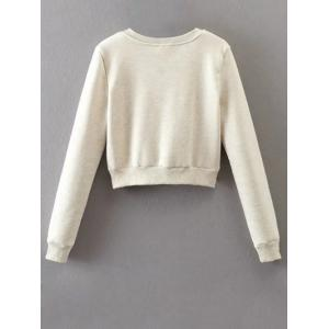 Lace Up Cropped Fleece Sweatshirt - OFF-WHITE L